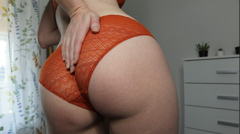 butt in orange lace panties